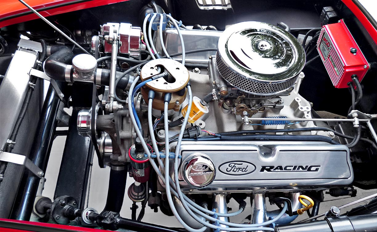 Ford Racing 351 Windsor engine photo (from driver side) of Rosso Corsa Red 427SC Shelby classic Shell Valley Cobra for sale by owner