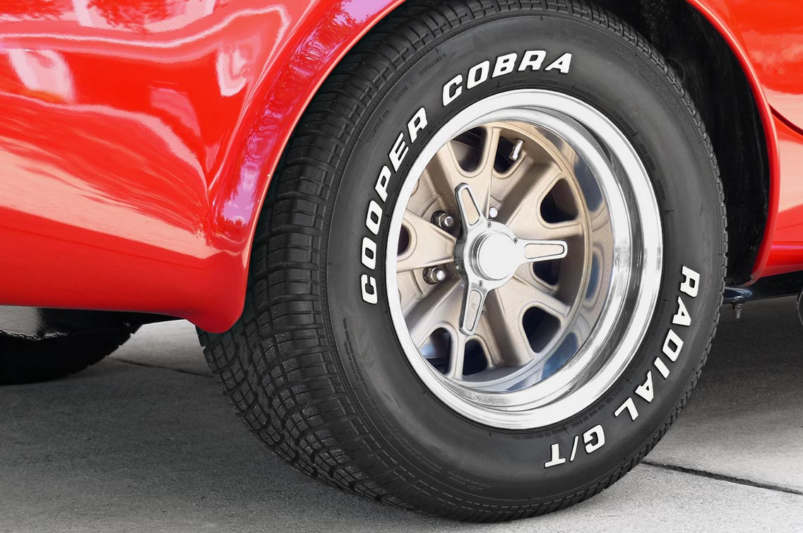 rolling stock (rear tire & wheel) shot of Rosso Corsa Red 427SC Shelby classic Shell Valley Cobra for sale by owner