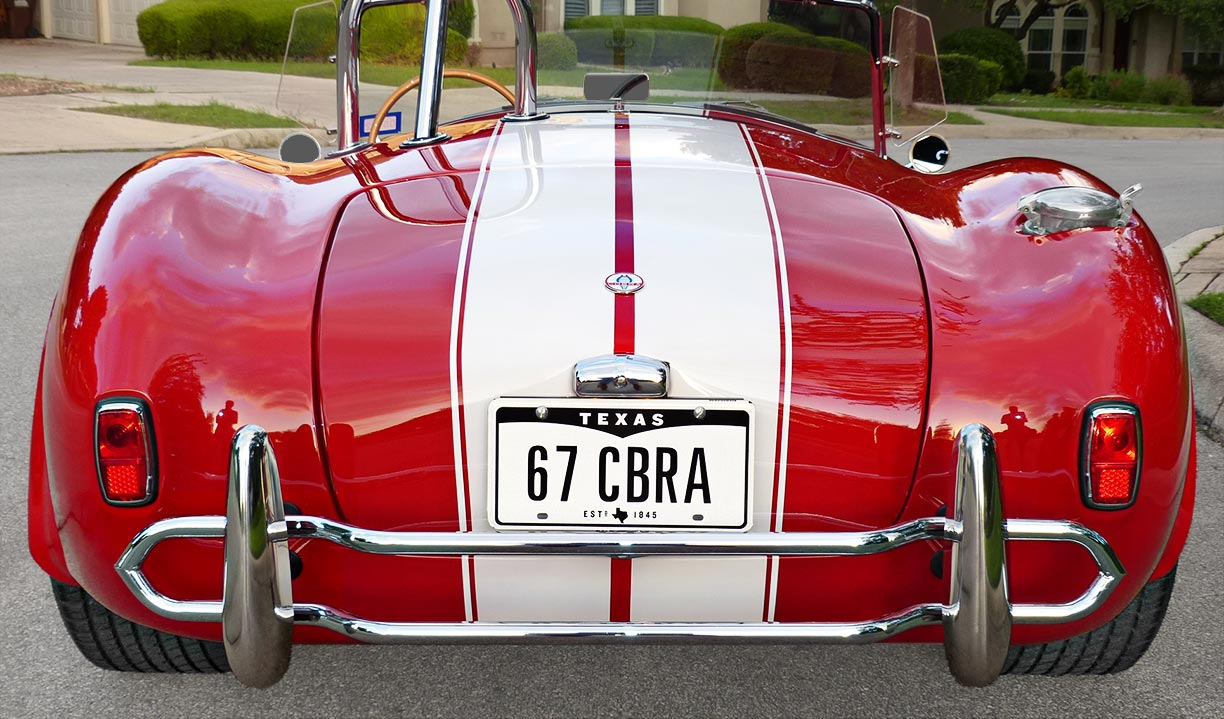 head-on rear shot of Rosso Corsa Red 427SC Shelby classic Shell Valley Cobra for sale by owner