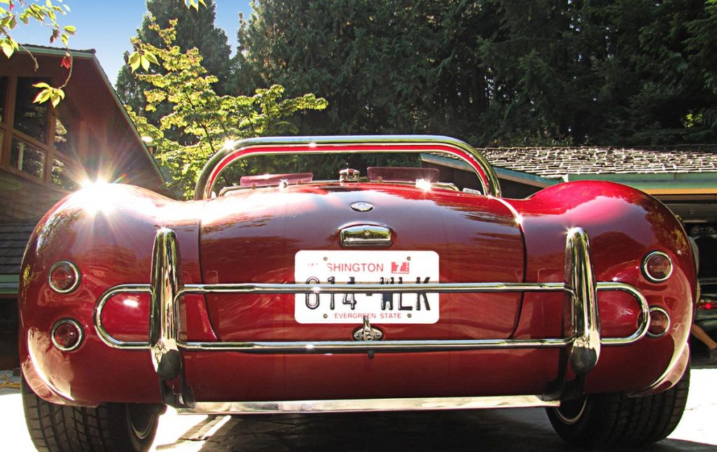 rear shot of Candy Apple Red West Coast 427SC Shelby classic Cobra for sale