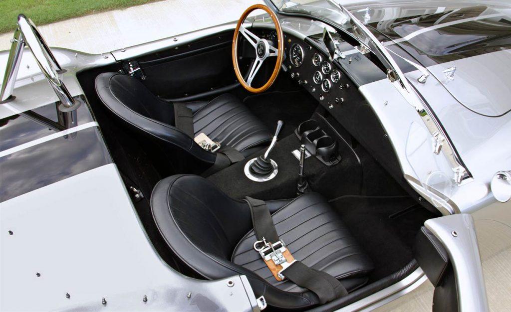 cockpit shot (from passenger side) of Titanium/black stripes Superformance 427SC Shelby classic Cobra for sale, SPO2508