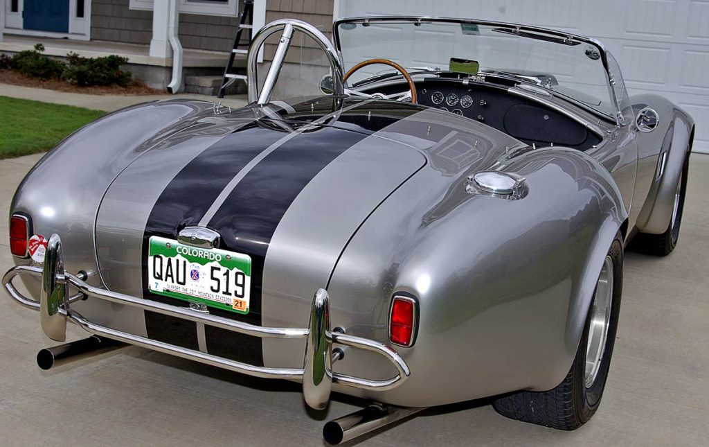 rear-quarter shot (passenger side) of Titanium/black stripes Superformance 427SC Shelby classic Cobra for sale, SPO2508
