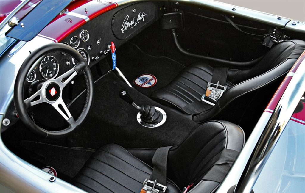 cockpit photo of Titanium/deep red stripes Superformance 427SC Shelby classic Cobra for sale by owner, SPO2281