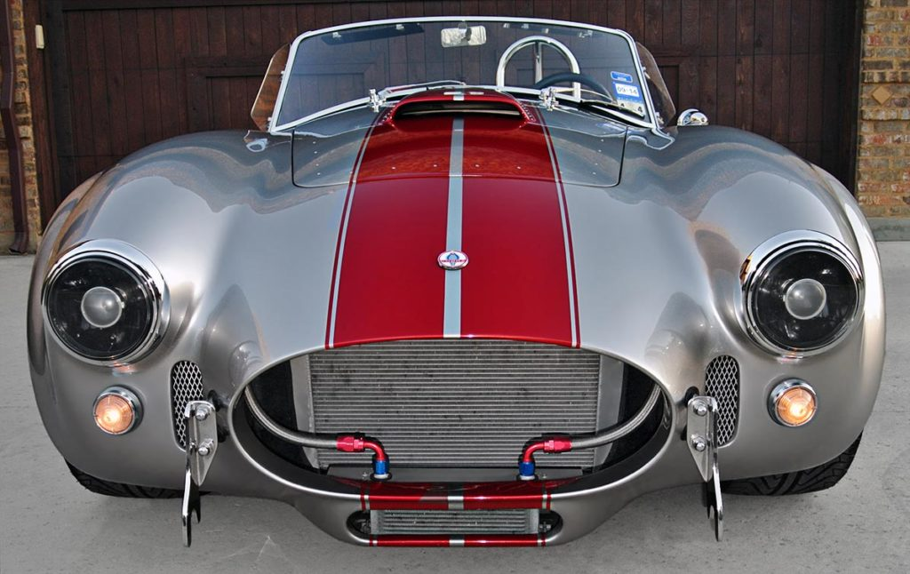 head-on frontal shot of Titanium/deep red stripes Superformance 427SC Shelby classic Cobra for sale by owner, SPO2281