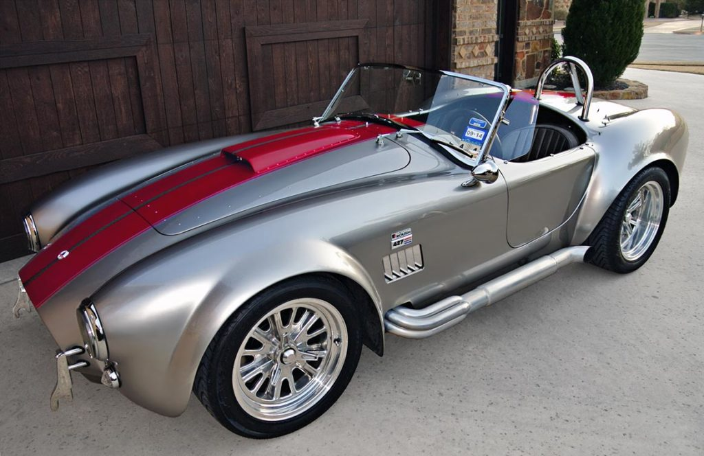 3/4-frontal shot (driver side) of Titanium/deep red stripes Superformance 427SC Shelby classic Cobra for sale by owner, SPO2281