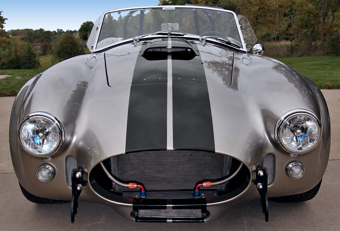 head-on frontal shot of Titanium Superformance 427SC Shelby classic Cobra for sale by owner, SPO1176