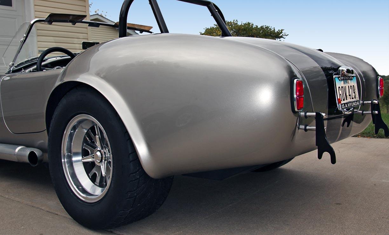 rear-quarter shot (driver side) of Titanium Superformance 427SC Shelby classic Cobra for sale by owner, SPO1176