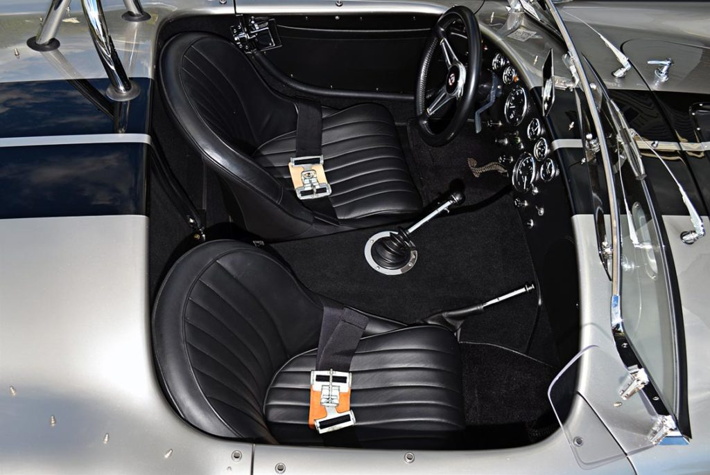 cockpit (from passenger side) shot of Titanium/Onyx Black LeMans stripes Superformance 427SC Shelby Cobra for sale, SPO1797