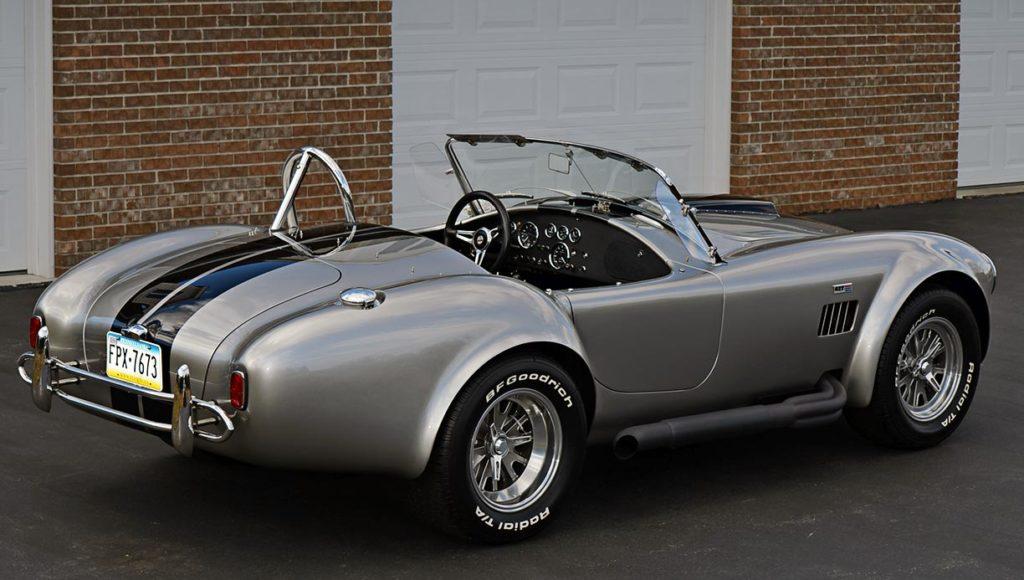 rear-quarterview shot of Titanium/Onyx Black LeMans stripes Superformance 427SC Shelby Cobra for sale, SPO1797