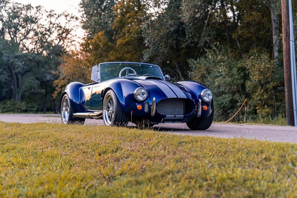 3/4-frontal shot (passenger side) of Spectra Blue Backdraft Racing 427SC Shelby classic Cobra for sale by owner, BDR1179