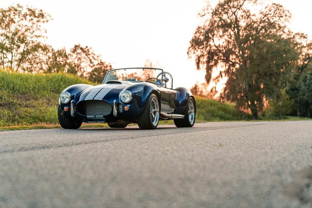 3/4-frontal shot (driver side) of Spectra Blue Backdraft Racing 427SC Shelby classic Cobra for sale by owner, BDR1179
