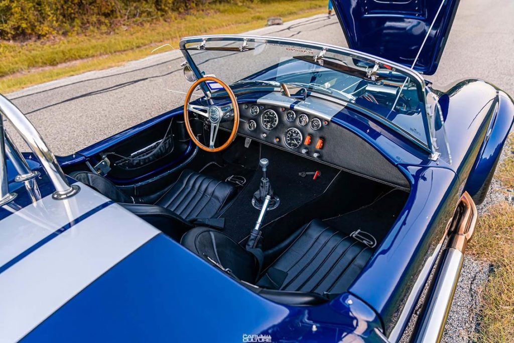 cockpit shot (from passenger side) of Spectra Blue Backdraft Racing 427SC Shelby classic Cobra for sale by owner, BDR1179