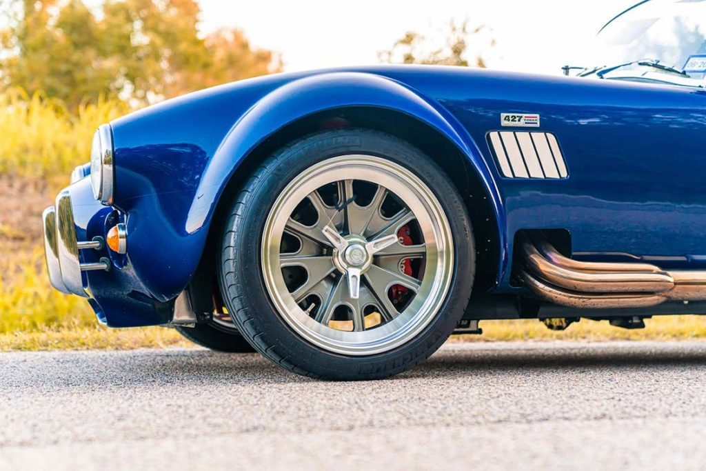 front-quarter shot of Spectra Blue Backdraft Racing 427SC Shelby classic Cobra for sale by owner, BDR1179