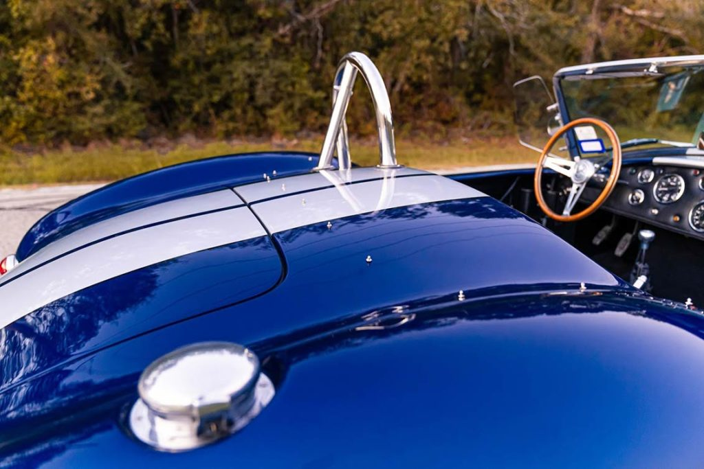 rear deck shot of Spectra Blue Backdraft Racing 427SC Shelby classic Cobra for sale by owner, BDR1179