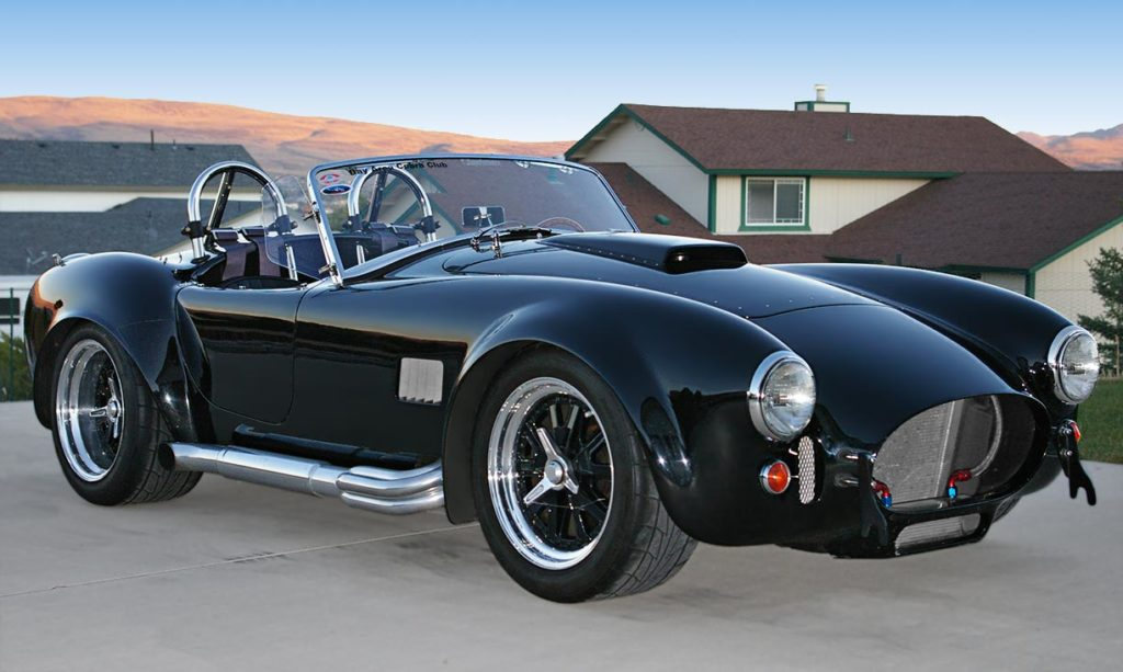 3/4-frontal image of Onyx Black Superformance 427SC MkIII Shelby classic Cobra for sale, SPO1948