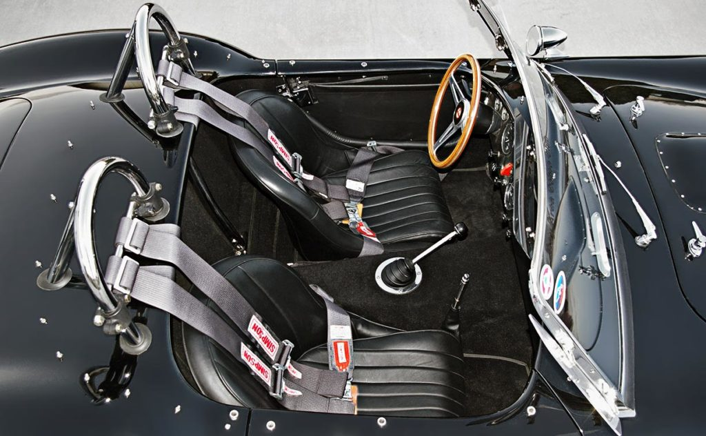 cockpit shot (from passenger side) of Onyx Black Superformance 427SC MkIII Shelby classic Cobra for sale, SPO1948