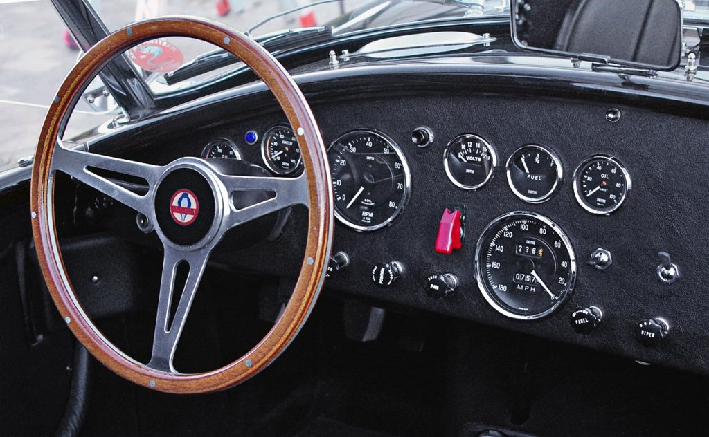 dashboard shot of Onyx Black Superformance 427SC MkIII Shelby classic Cobra for sale, SPO1948