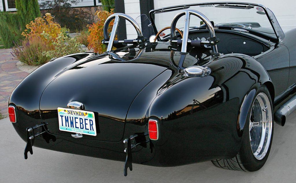 rear-quarter shot (passenger side) of Onyx Black Superformance 427SC MkIII Shelby classic Cobra for sale, SPO1948