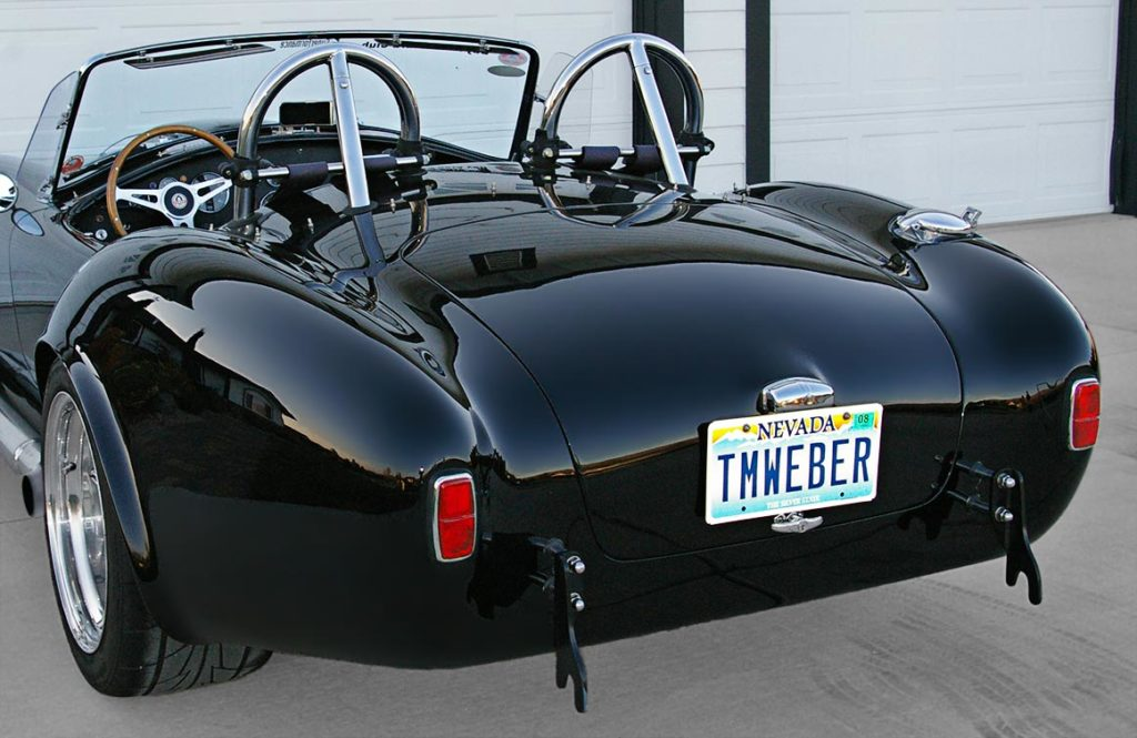 rear-quarter shot (driver side) of Onyx Black Superformance 427SC MkIII Shelby classic Cobra for sale, SPO1948