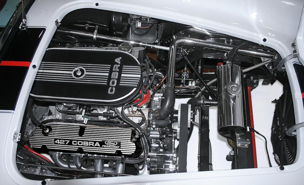 427 Ford Racing engine photo#1 of white Backdraft Racing 427SC Shelby classic Cobra for sale, BDRxxx