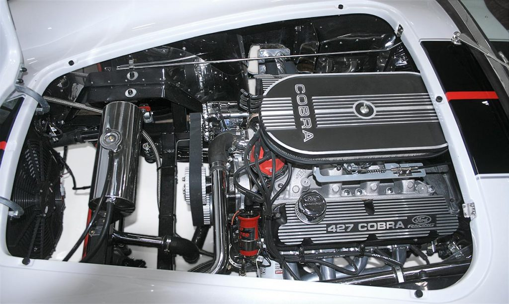 427 Ford Racing engine photo#2 of white Backdraft Racing 427SC Shelby classic Cobra for sale, BDRxxx