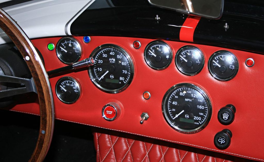 dashboard shot of white Backdraft Racing 427SC Shelby classic Cobra for sale, BDRxxx