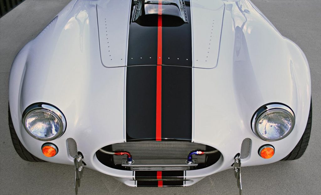 OH frontal shot of white Backdraft Racing 427SC Shelby classic Cobra for sale, BDRxxx