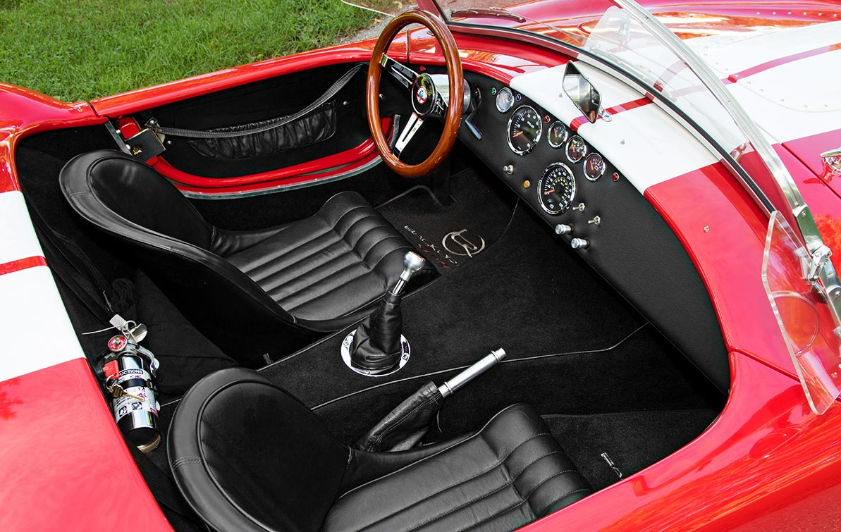 cockpit shot of Ferrari Rossa Red 427SC Shelby classic Backdraft Racing Cobra, BDR333, for sale by owner