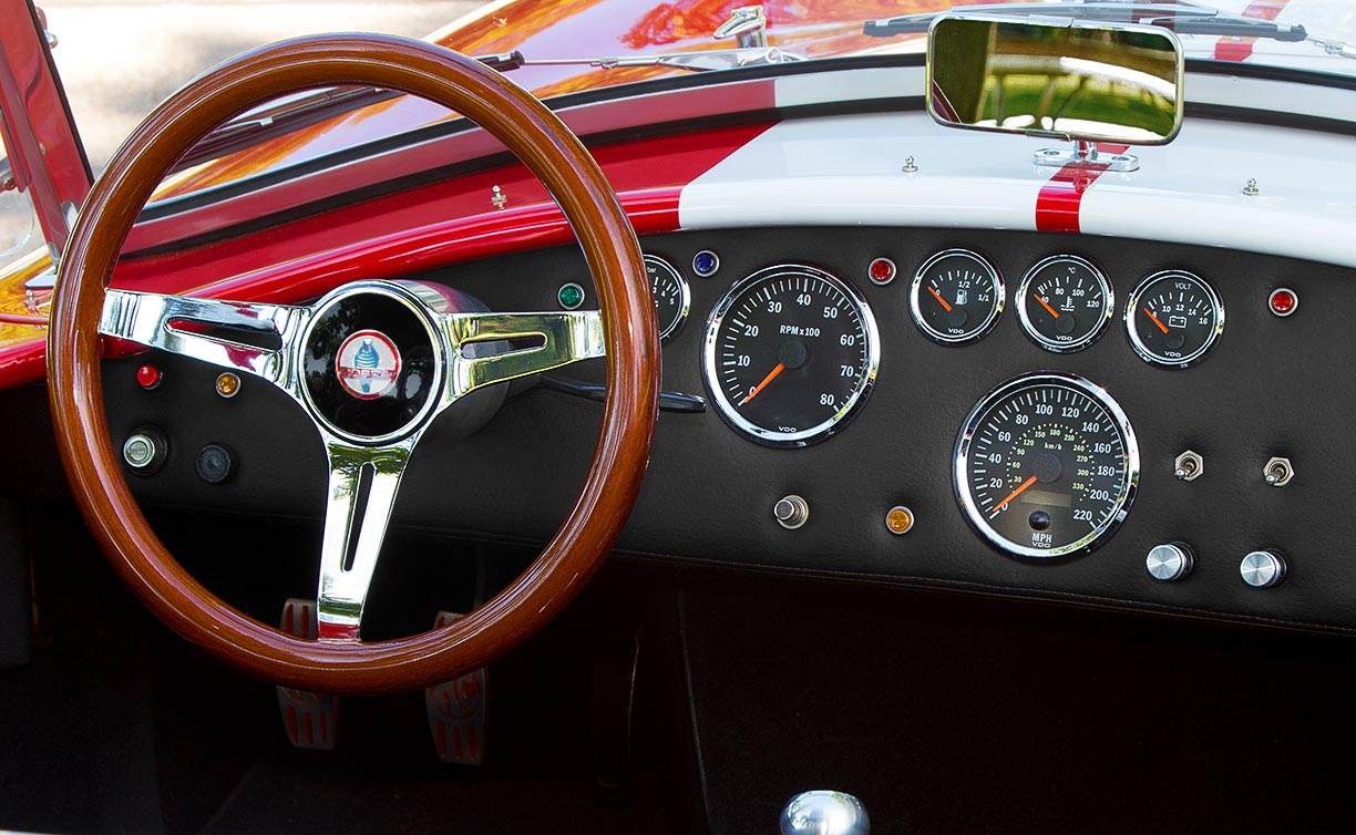 dashboard shot of Ferrari Rossa Red 427SC Shelby classic Backdraft Racing Cobra, BDR333, for sale by owner