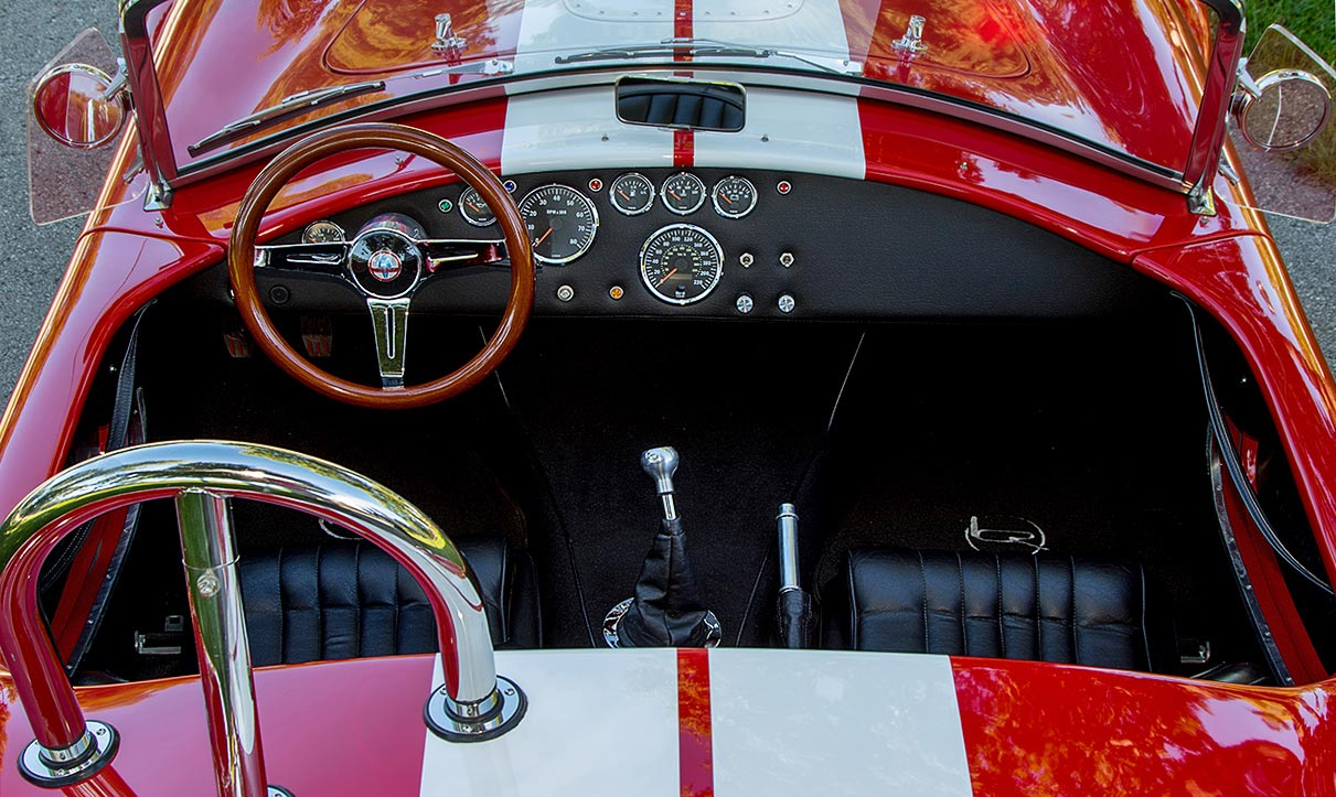 cockpit shot (from behind) of Ferrari Rossa Red 427SC Shelby classic Backdraft Racing Cobra, BDR333, for sale by owner