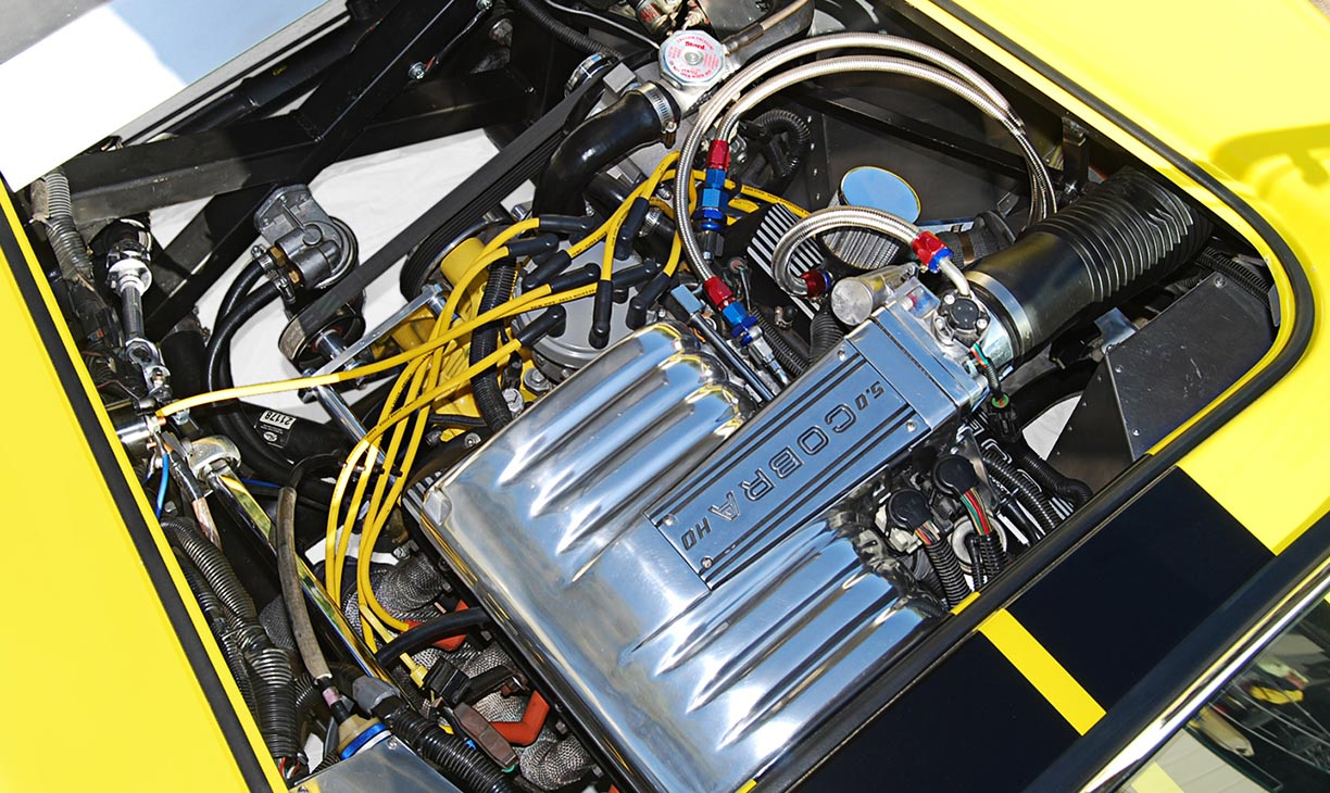 Ford 5.0L (fuel-injected) engine photo of Candy Lime Gold FFR (Factory Five Racing) 427SC Shelby classic Cobra for sale by owner