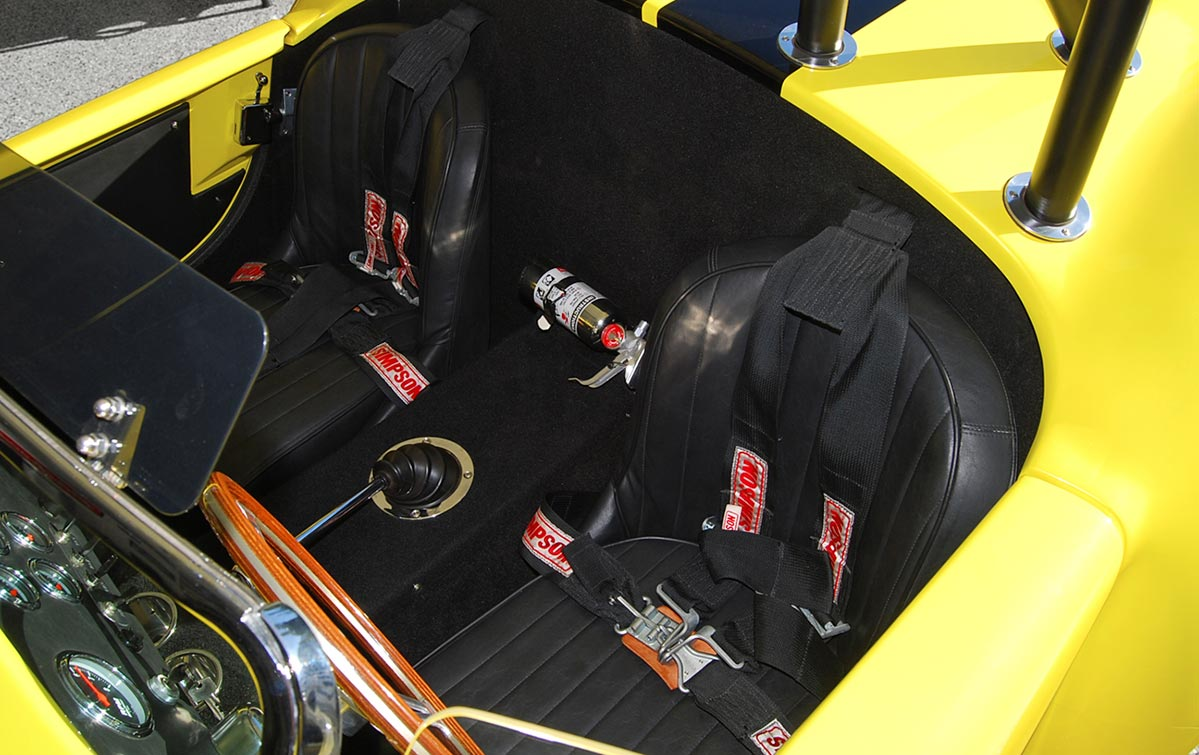 cockpit photo of Candy Lime Gold FFR (Factory Five Racing) 427SC Shelby classic Cobra for sale by owner
