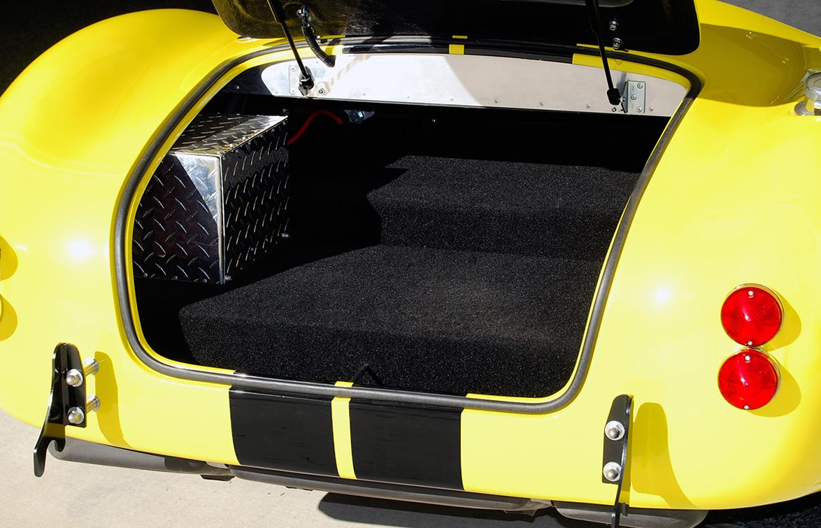 trunk (luggage compartment) photo of Candy Lime Gold FFR (Factory Five Racing) 427SC Shelby classic Cobra for sale by owner