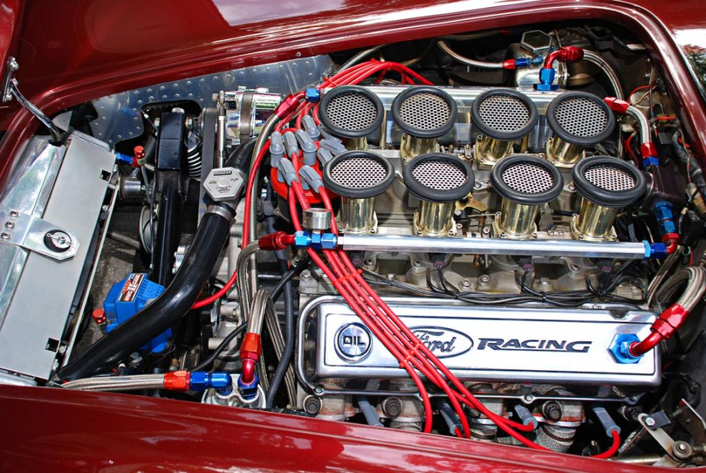 521 big-block engine photo of Primal Red Pearl E.R.A. 427SC Shelby classic Cobra for sale, ERA462