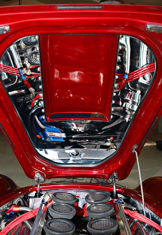 underhood photo of Primal Red Pearl E.R.A. 427SC Shelby classic Cobra for sale, ERA462