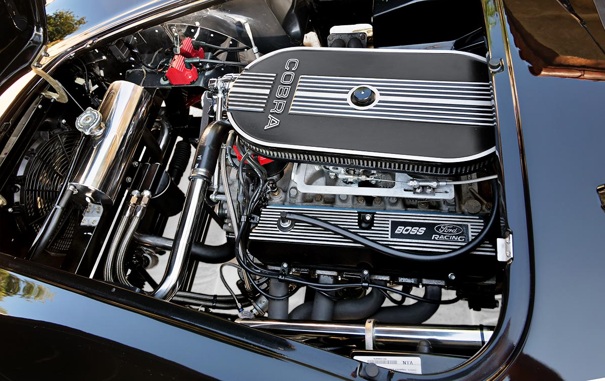 Ford Racing engine photo of black Backdraft Racing 427SC Shelby classic Cobra for sale by owner