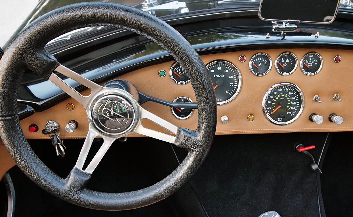 dashboard shot of black Backdraft Racing 427SC Shelby classic Cobra for sale by owner