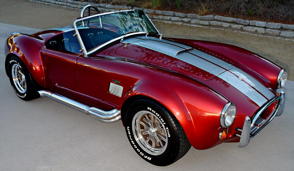 3/4-frontal view of Crimson Red Backdraft Racing 427SC Shelby classic Cobra for sale, BDR089