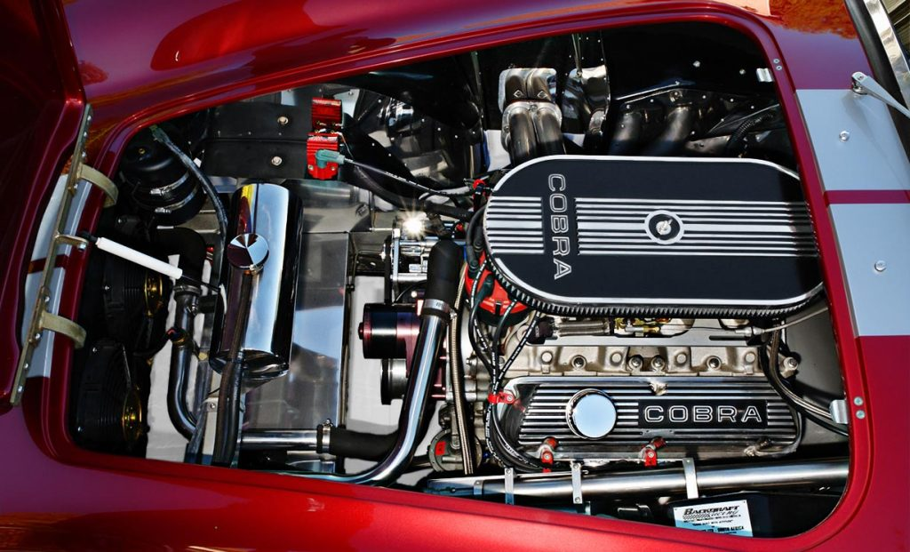 427 engine photo of Crimson Red Backdraft Racing 427SC Shelby classic Cobra for sale, BDR089
