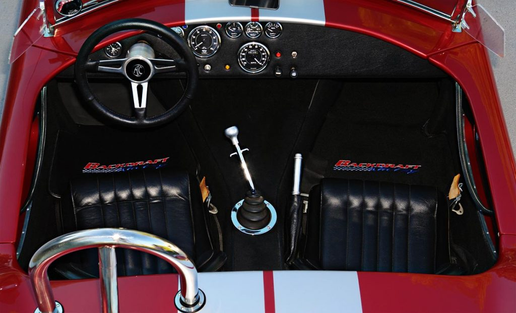 cockpit photo of Crimson Red Backdraft Racing 427SC Shelby classic Cobra for sale, BDR089