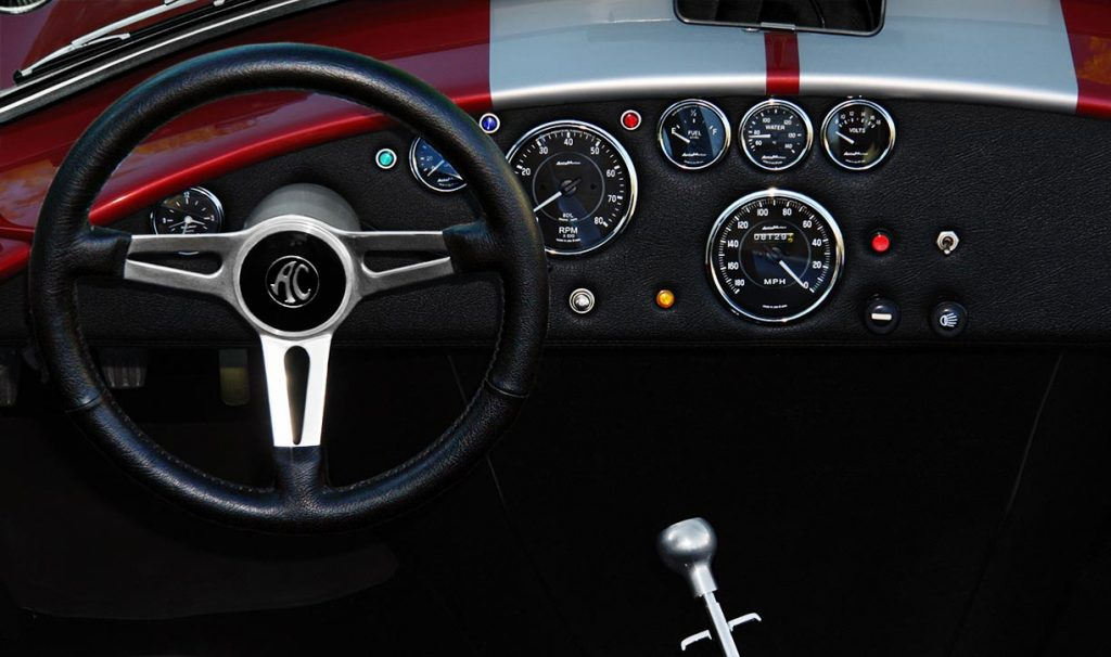 dashboard shot of Crimson Red Backdraft Racing 427SC Shelby classic Cobra for sale, BDR089