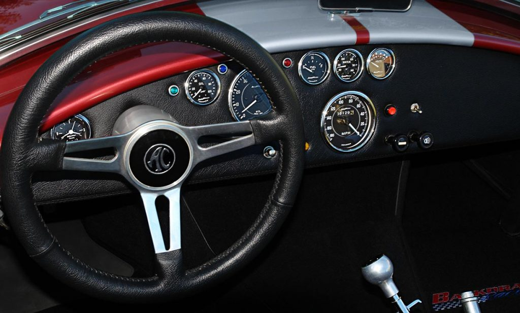 dashboard shot of of Crimson Red Backdraft Racing 427SC Shelby classic Cobra for sale, BDR089