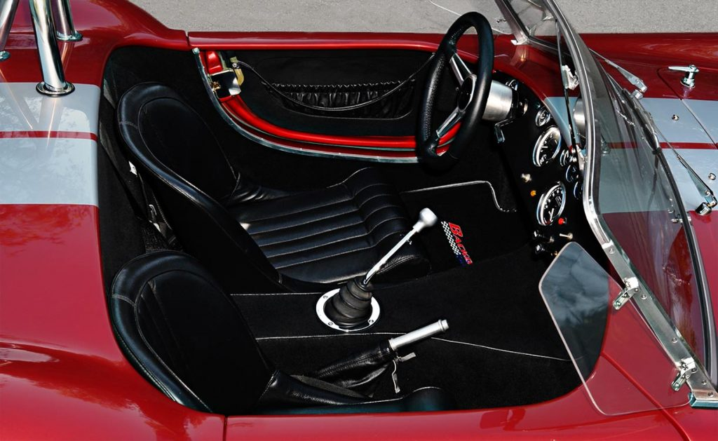dashboard shot of Crimson Red Backdraft Racing 427SC Shelby classic Cobra for sale, BDR089d