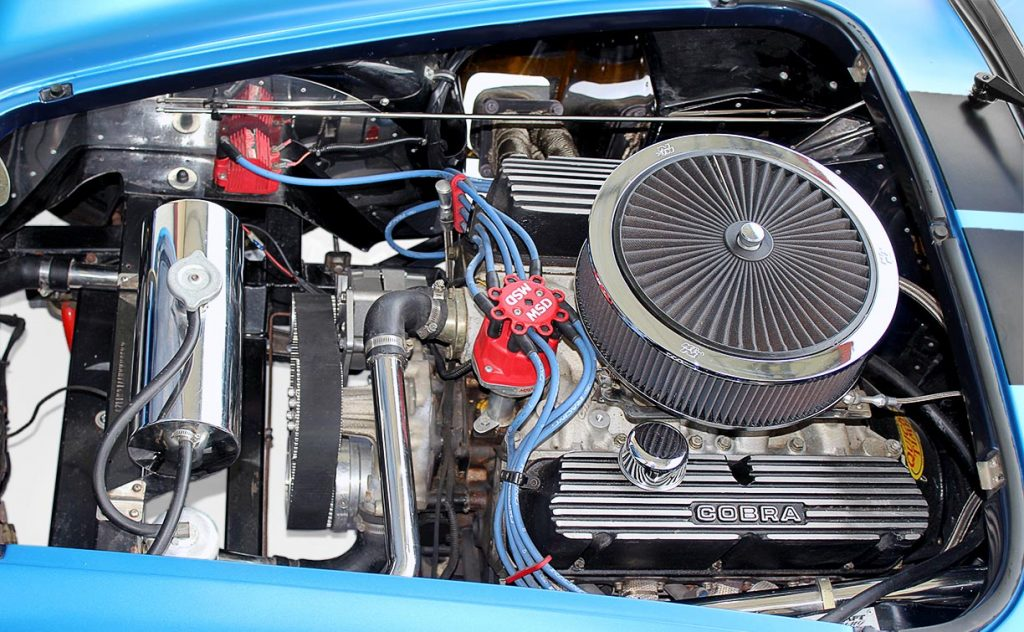 408 Windsor engine shot#1 (from driver side) of 3M Blue Metallic Backdraft Racing 427SC Shelby classic Cobra replica for sale, BDR621