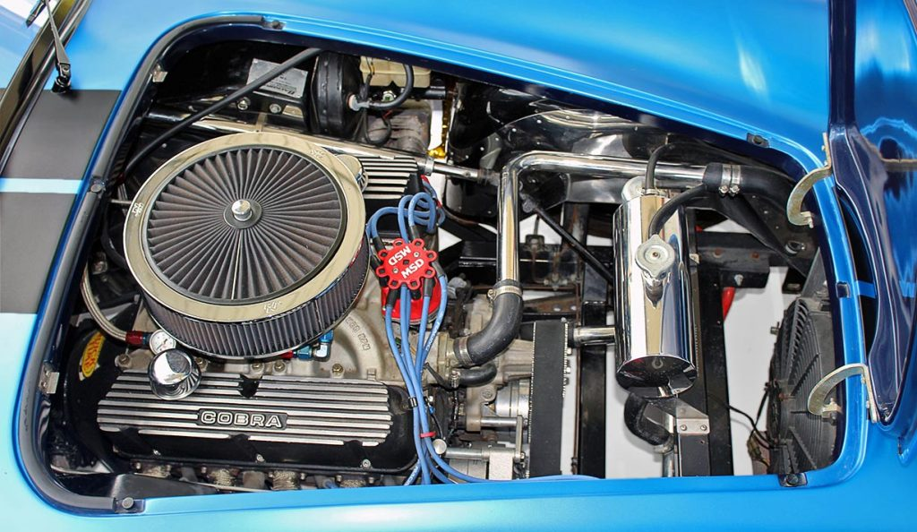 408 Windsor engine shot#2 (from passenger side) of 3M Blue Metallic Backdraft Racing 427SC Shelby classic Cobra replica for sale, BDR621