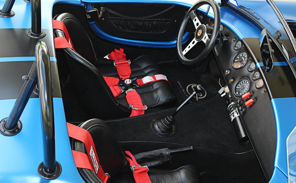 cockpit shot (from passenger side) of 3M Blue Metallic Backdraft Racing 427SC Shelby classic Cobra replica for sale, BDR621