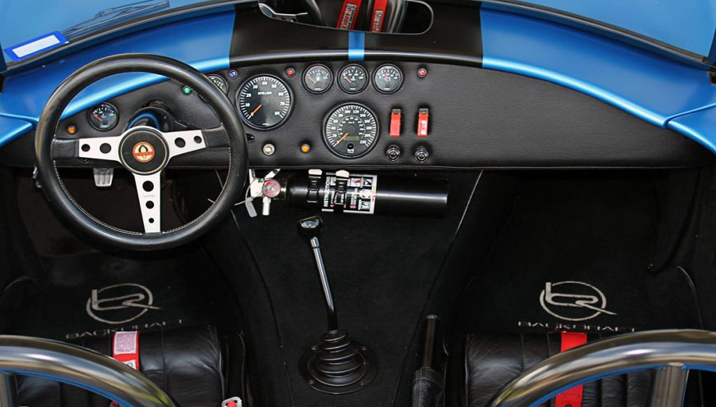 cockpit shot#2 (from rear of car) of 3M Blue Metallic Backdraft Racing 427SC Shelby classic Cobra replica for sale, BDR621