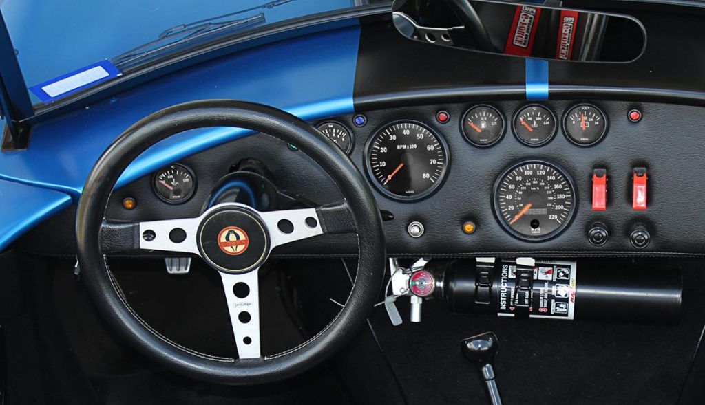 instrument panel shot of 3M Blue Metallic Backdraft Racing 427SC Shelby classic Cobra replica for sale, BDR621