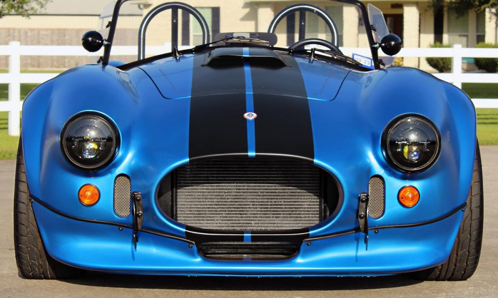 head-on frontal shot of 3M Blue Metallic Backdraft Racing 427SC Shelby classic Cobra replica for sale, BDR621