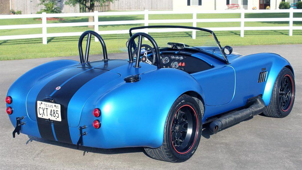 3/4-rear shot (passenger side) of 3M Blue Metallic Backdraft Racing 427SC Shelby classic Cobra replica for sale, BDR621